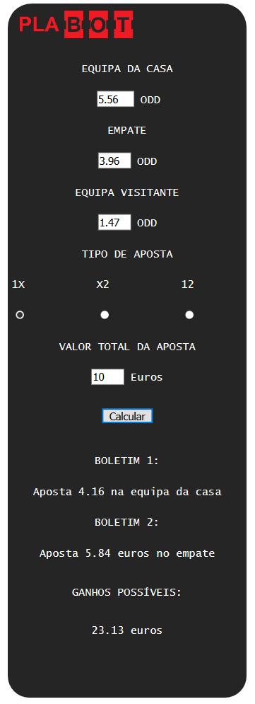 Calculadora Dupla Chance - Vitória ou Empate PLACARD